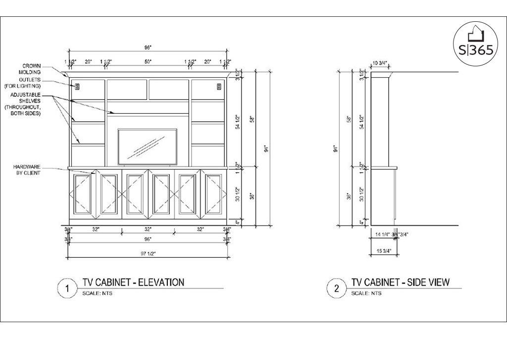Custom casework design, bookshelf