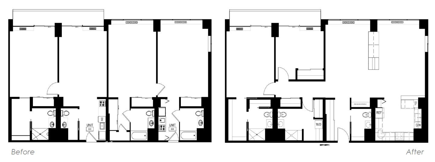 Floor Plans before and after