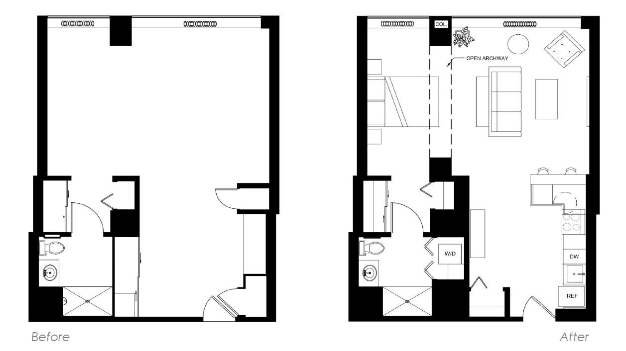 Floor Plans before and after with furniture shown