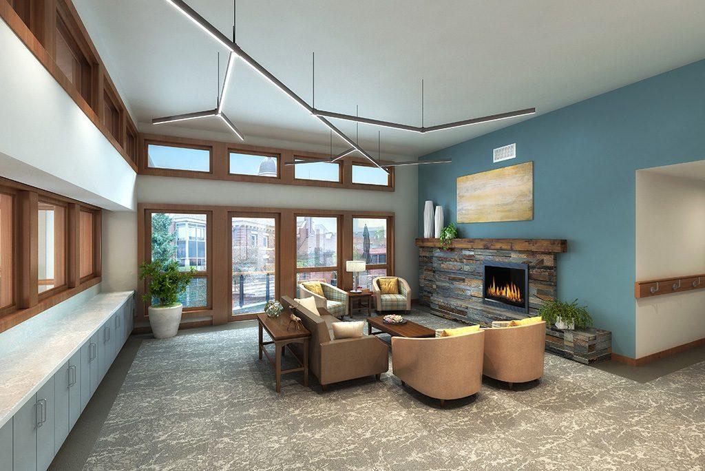 Kenney fireside concept rendering of lobby