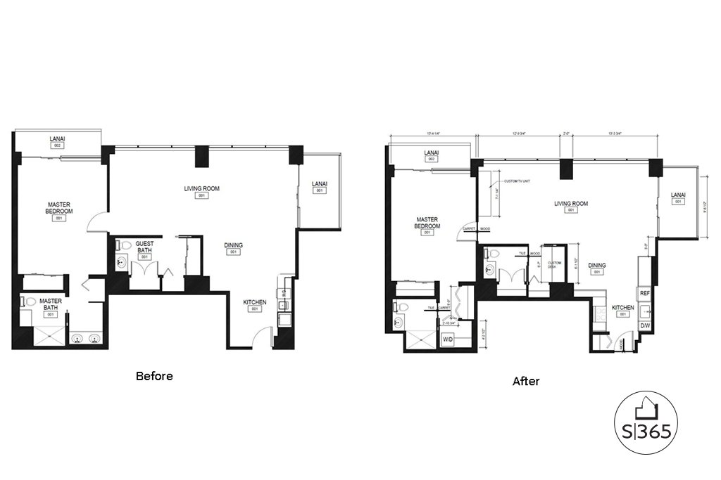 Parkshore IL Apartment before and after floor plans