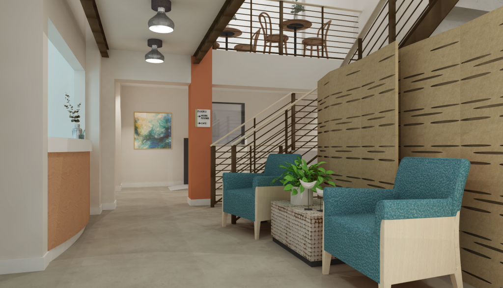 Senior Center of West Seattle Design refresh: rendering of proposed new lobby space