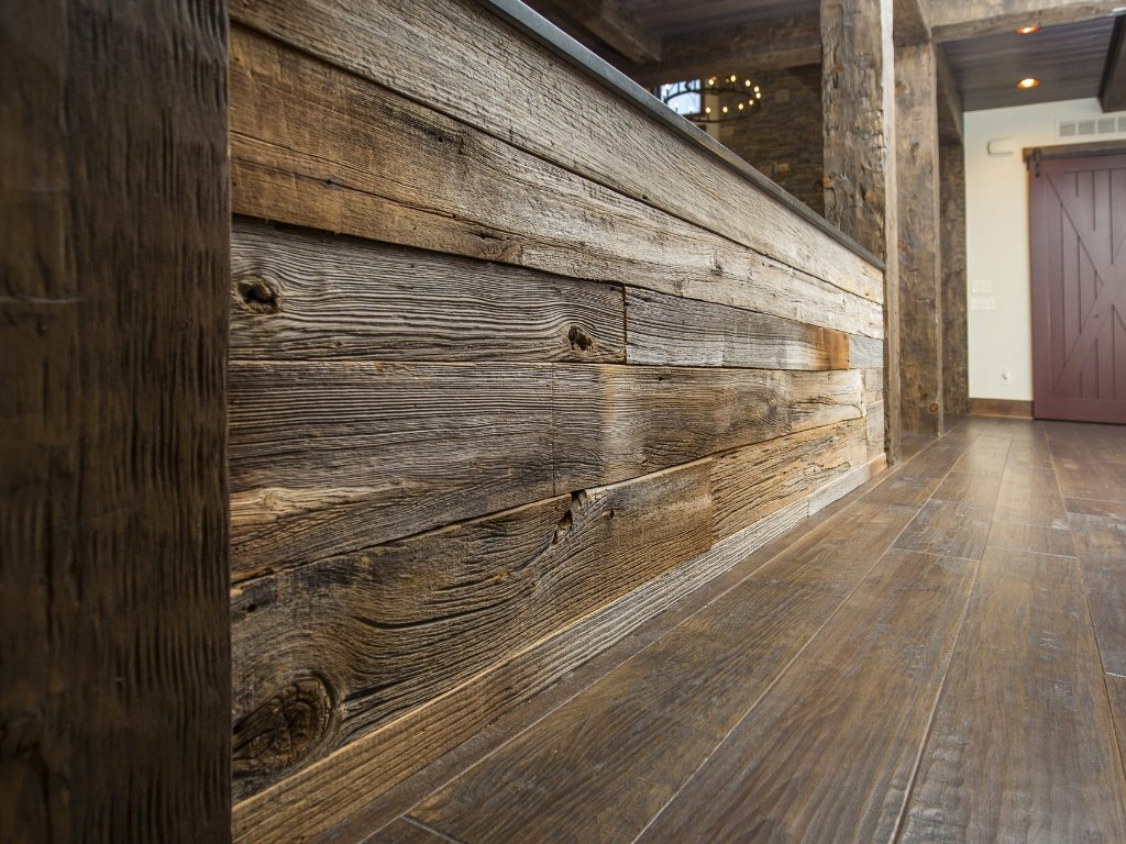 Green Design - Materials and Considerations: reclaimed wood used on wall